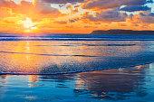 Sunset Coronado Beach,surf,San Diego,CA