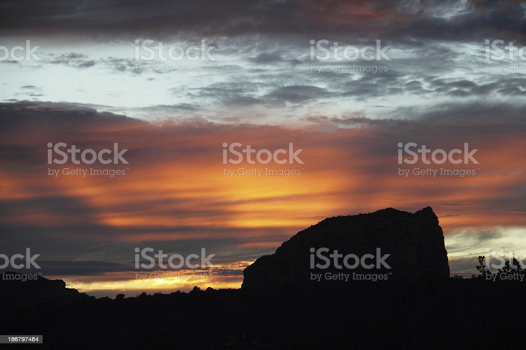 Sunset Courthouse Butte Sedona Arizona Silouette stock photo
