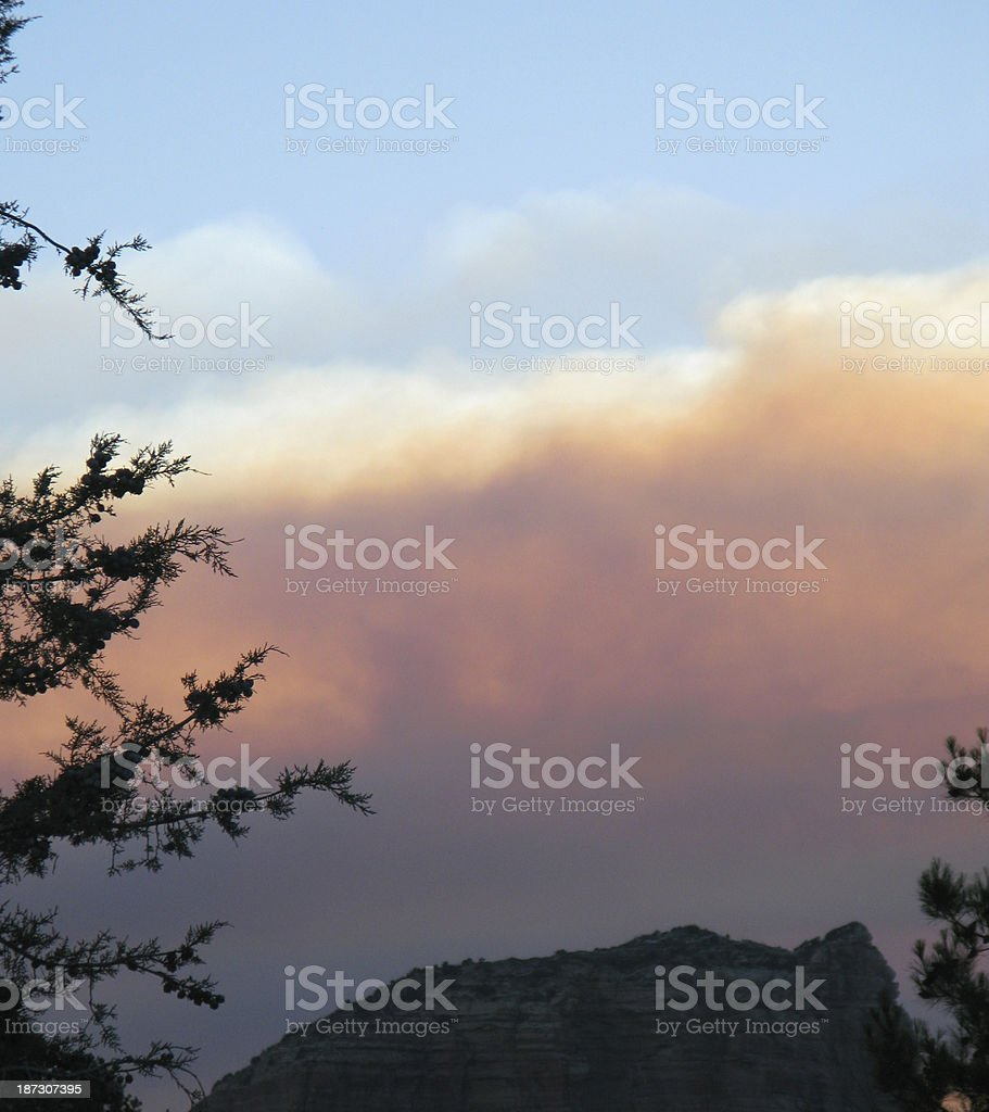 Sunset Couthouse Butte Clouds stock photo