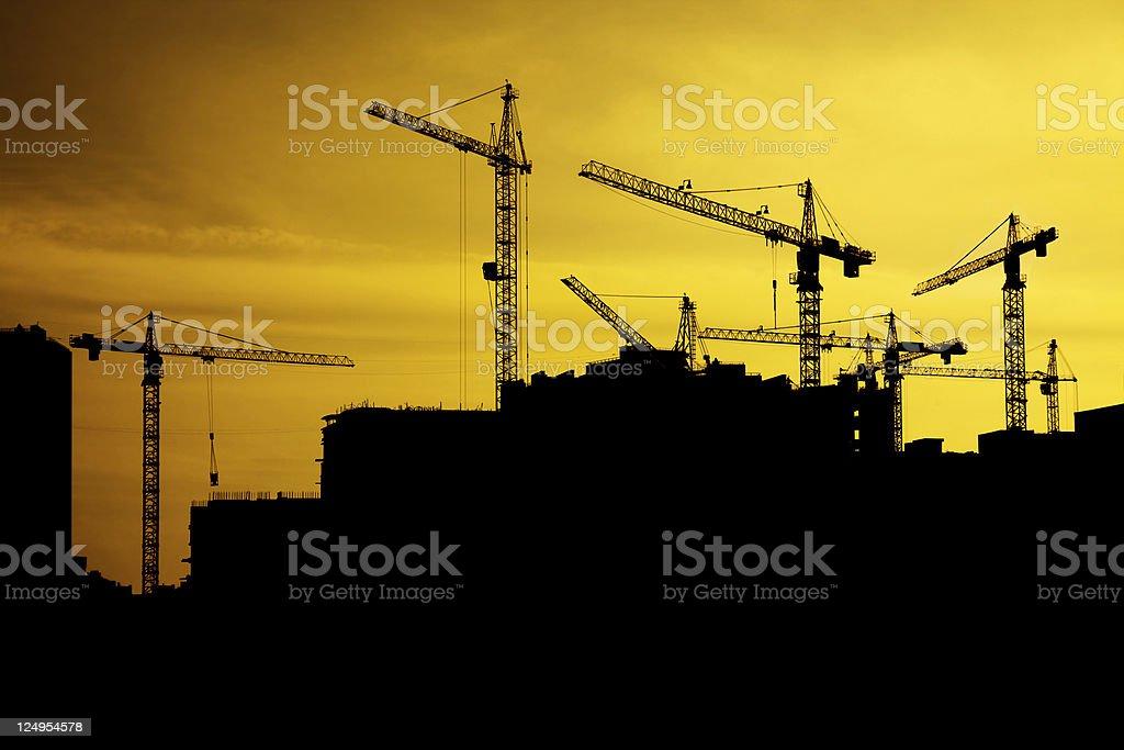 Sunset cranes stock photo