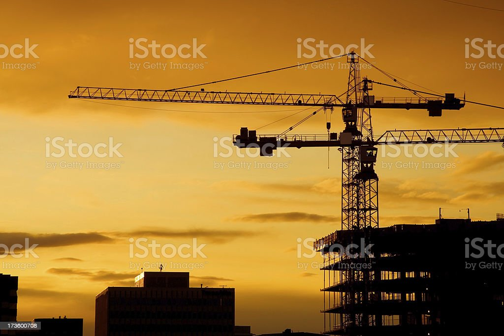 Sunset cranes stock photo