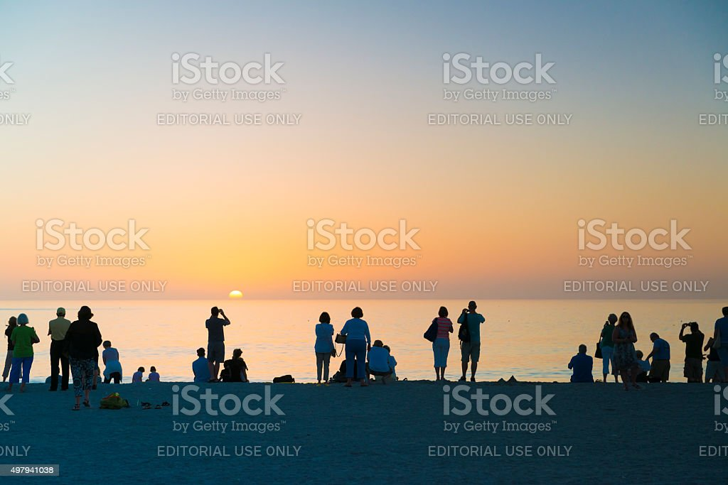 Sunset Crowd on Captiva Island stock photo