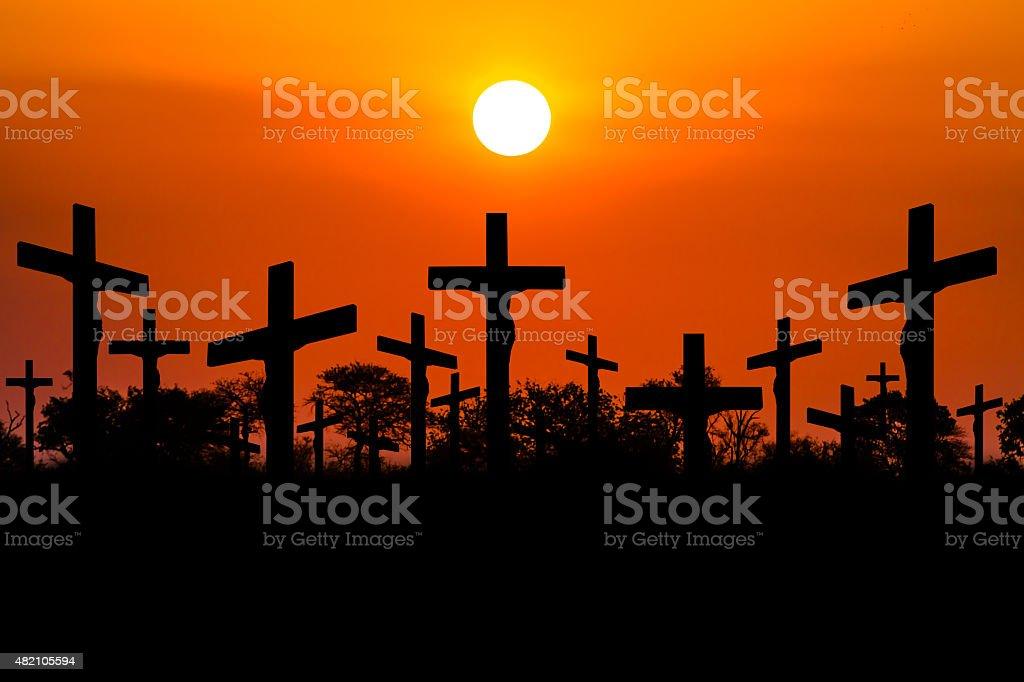 Sunset Crucifixion stock photo