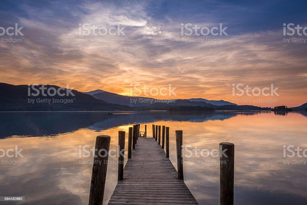 Sunset Derwent Water stock photo