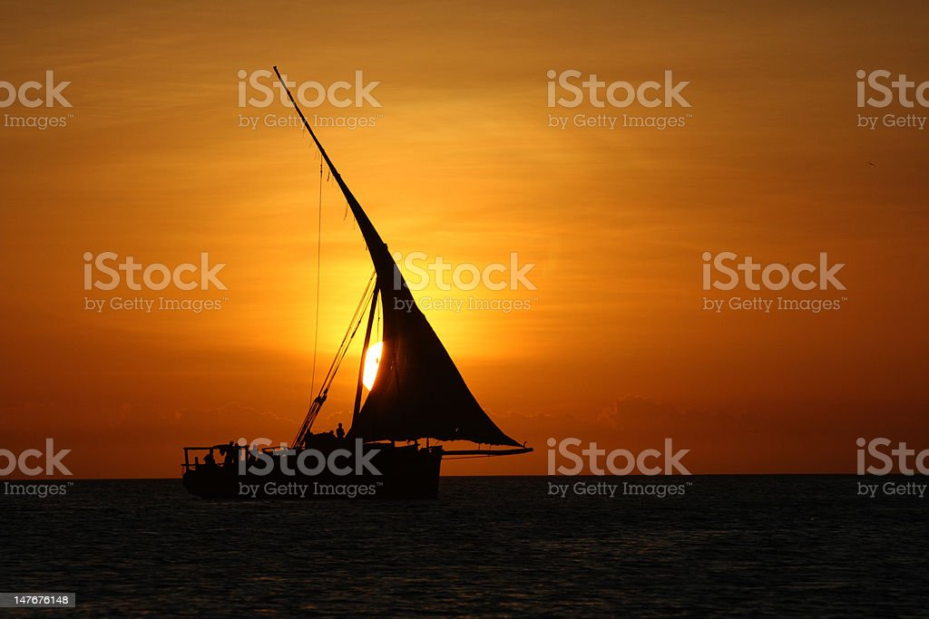 Sunset Dhow stock photo
