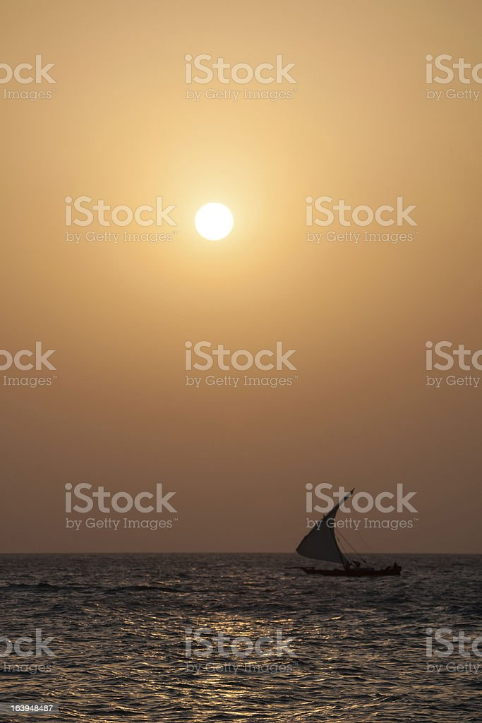 Sunset Dhow royalty-free stock photo