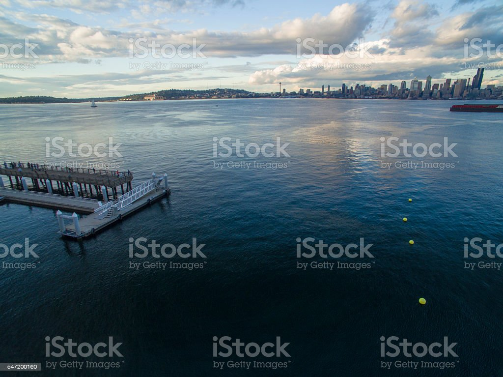 Sunset Dock West Seattle Waterfront Looking Towards Downtown Seattle Skyline stock photo