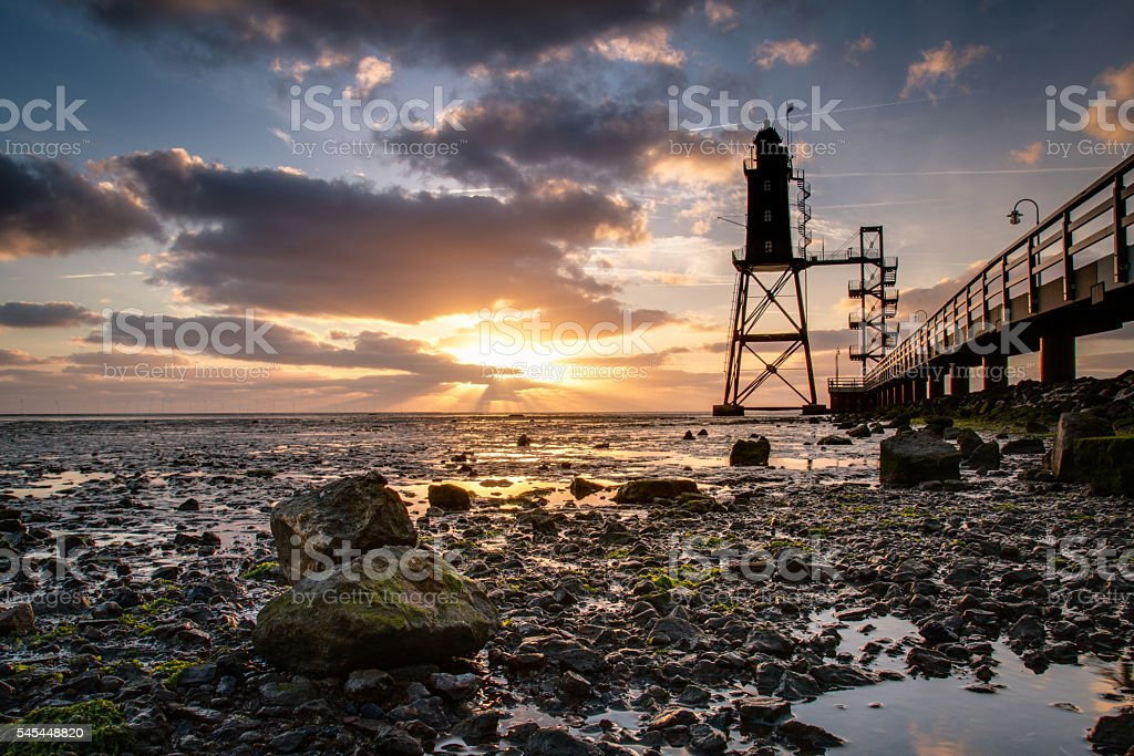 Sunset Dorum, Germany stock photo