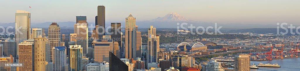Sunset - Downtown Seattle & Mt. Rainier stock photo