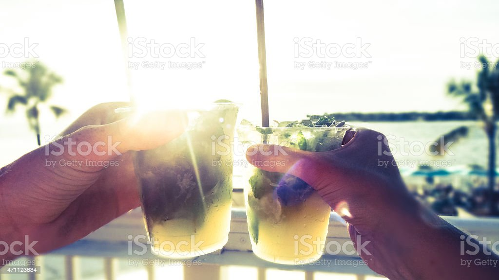 Sunset Drink in Key West, Florida stock photo