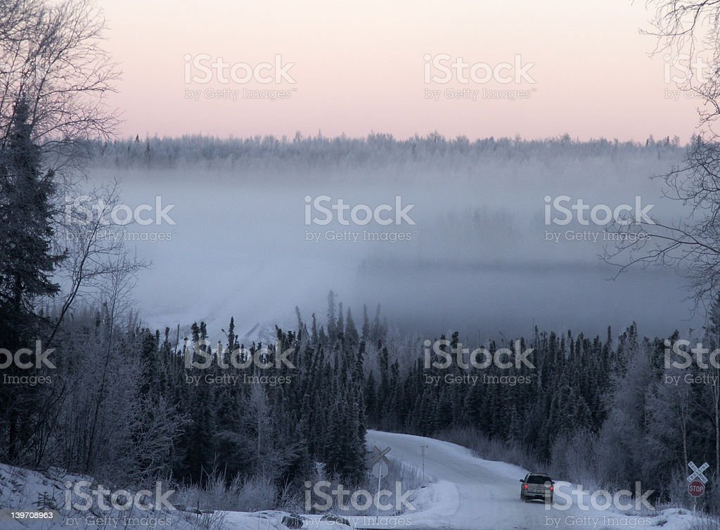 Sunset drive in Alaska royalty-free stock photo