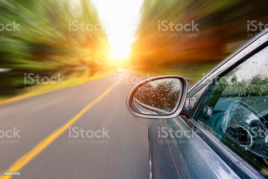 Sunset drive stock photo