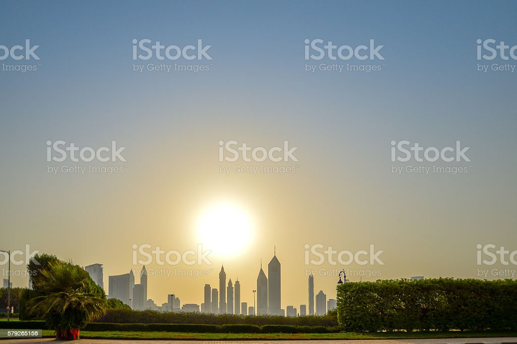 Sunset Dubai Skyline stock photo