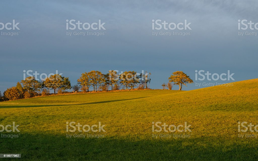 Sunset during autumn in Sweden stock photo