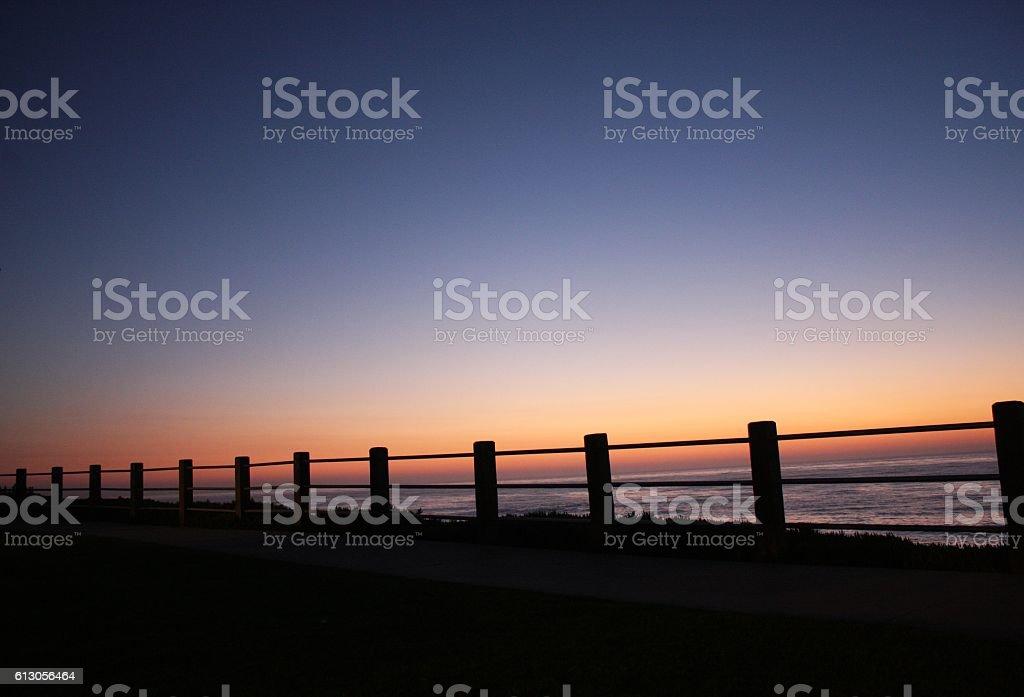 sunset embankment stock photo