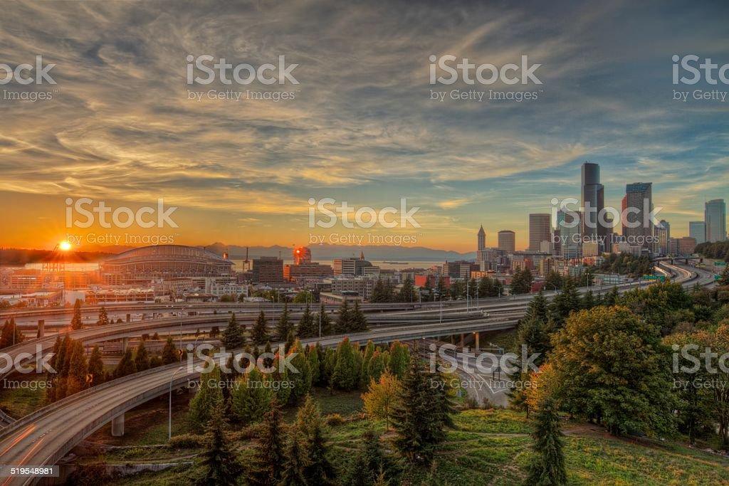 Sunset Emerald City Seattle stock photo