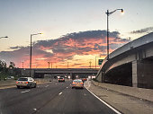 sunset entering the highway