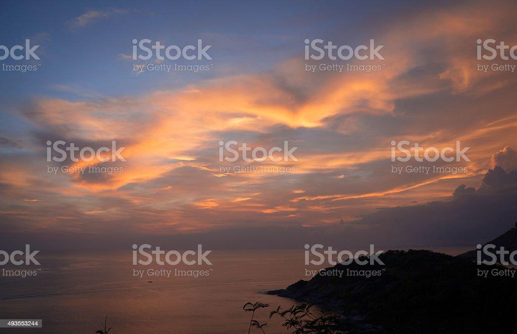 Вечер закат на море острова Пхукет Таиланд, зрения Стоковые фото Стоковая фотография