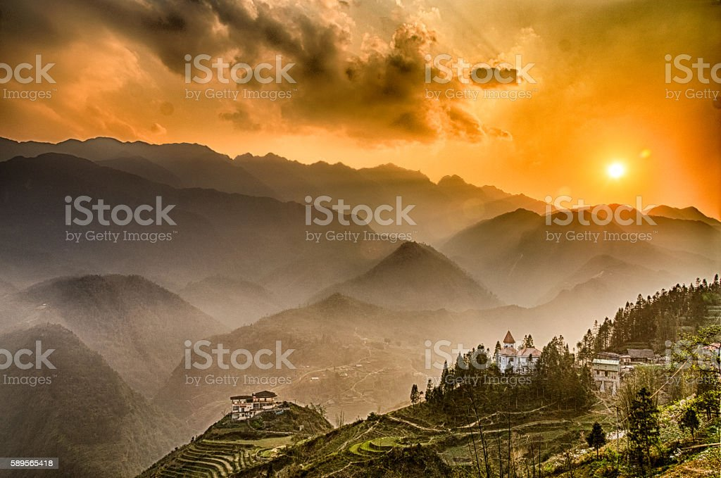 Sunset, Fansipan, Sapa, Vietnam stock photo