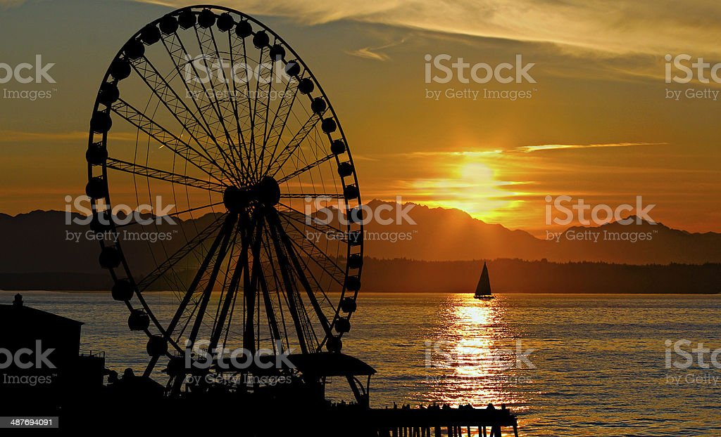 Sunset Ferris Wheel stock photo