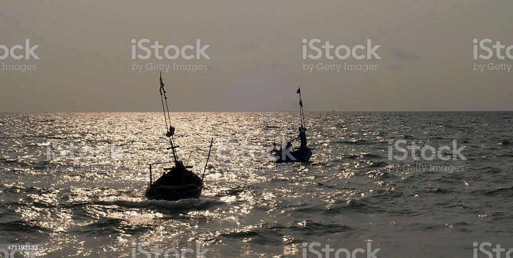 Sunset Fishing, Vietnam stock photo