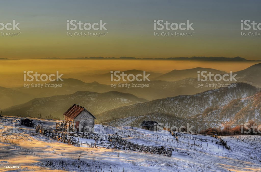 sunset fog on the high altitude mountain stock photo