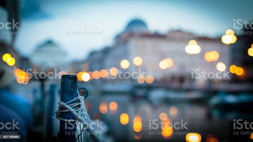 sunset from a boat in Trieste stock photo