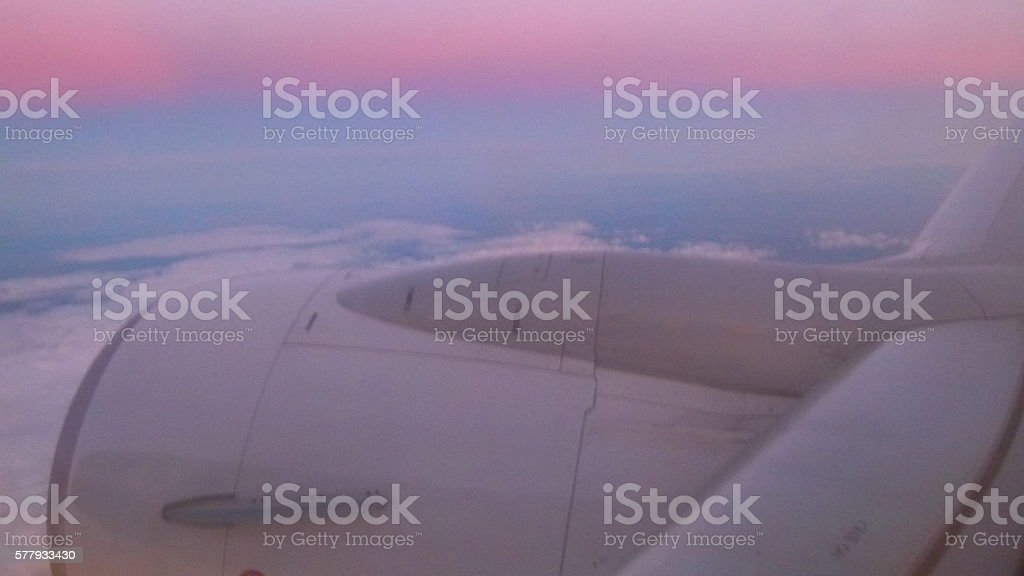 Sunset from a plane stock photo