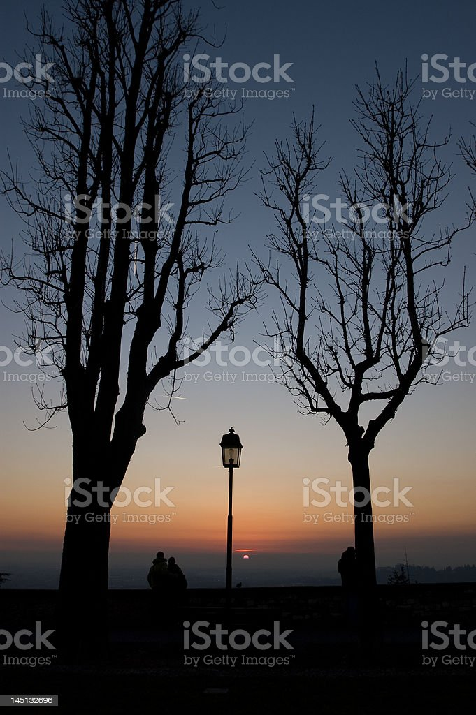 Sunset from Bergamo Alta stock photo
