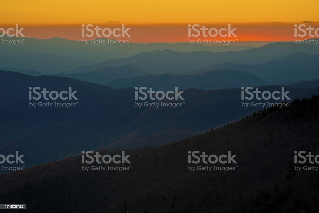 Sunset from Clingmans Dome, Blue Ridge Mountains, North Carolina royalty-free stock photo