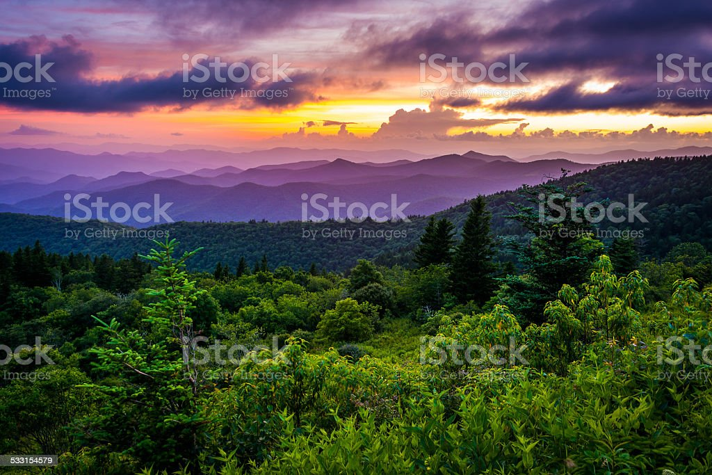 Sunset from Cowee Mountains Overlook, on the Blue Ridge Parkway stock photo