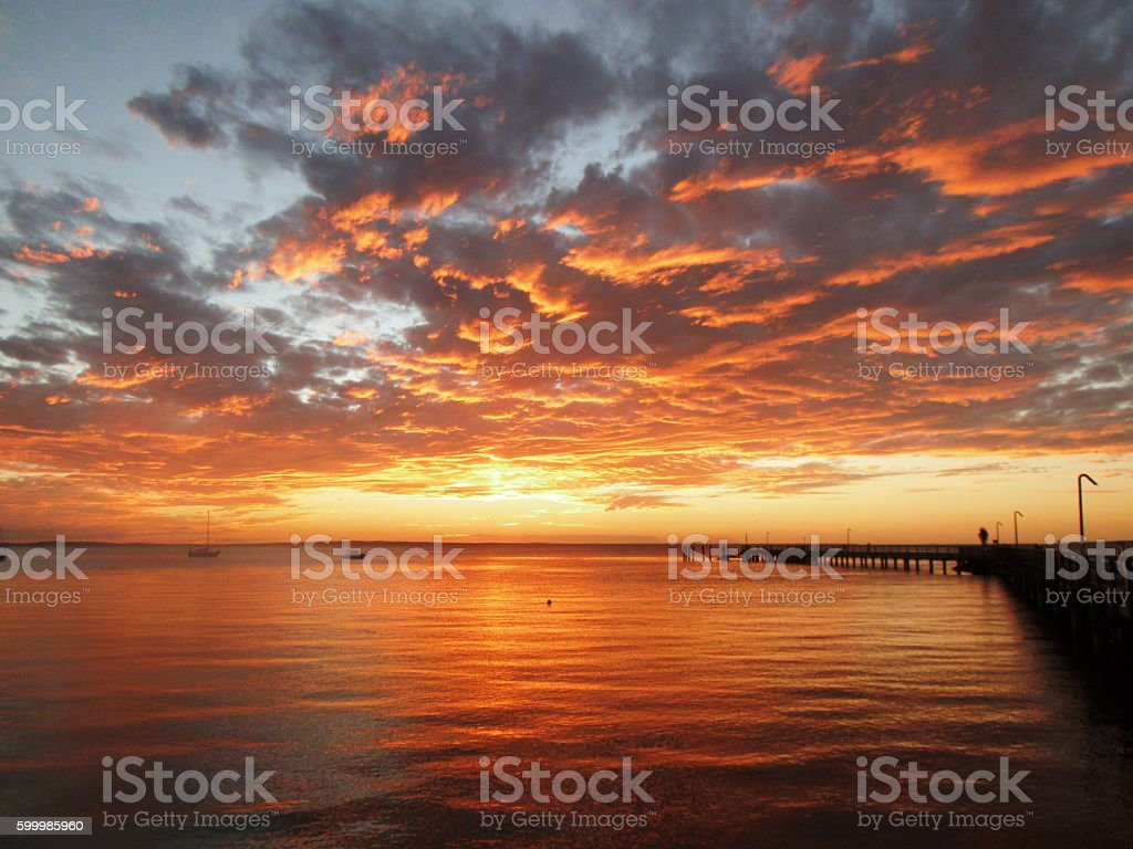 Sunset from Fraser Island stock photo