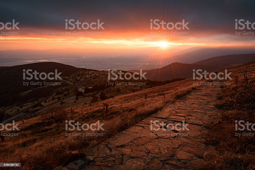 Sunset from Hadji Dimitar peak, Buzludzha, Bulgaria stock photo