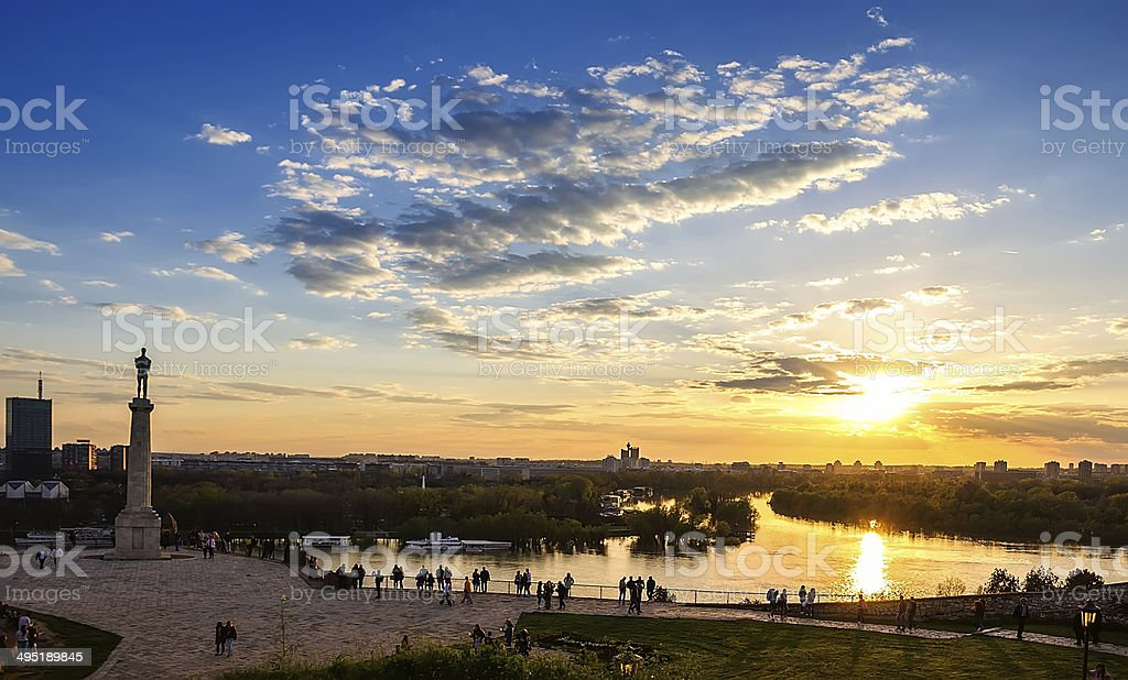 Sunset from Kalemegdan fortress to confluence of Danube and Sava stock photo