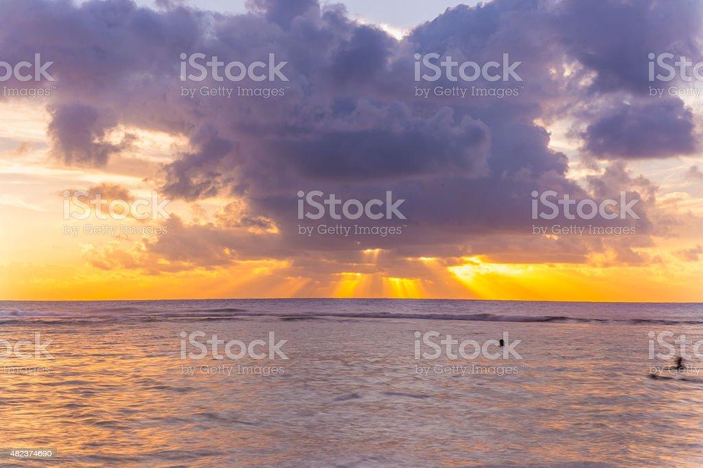 Sunset from Ke'e Beach, Kauai, Hawaii stock photo