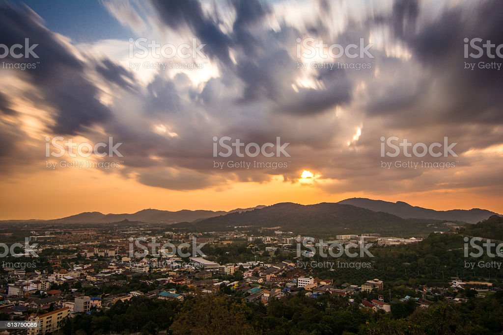 sunset from Khao Rang viewpoint of Phuket province in Thailand stock photo