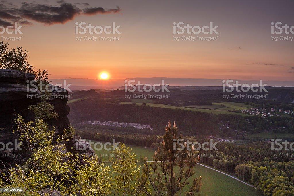 Sunset from Lilienstein, saxonia switzerland stock photo