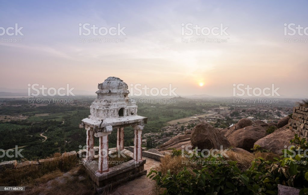 Sunset from Matanga parvata (hills) in Hampi. stock photo