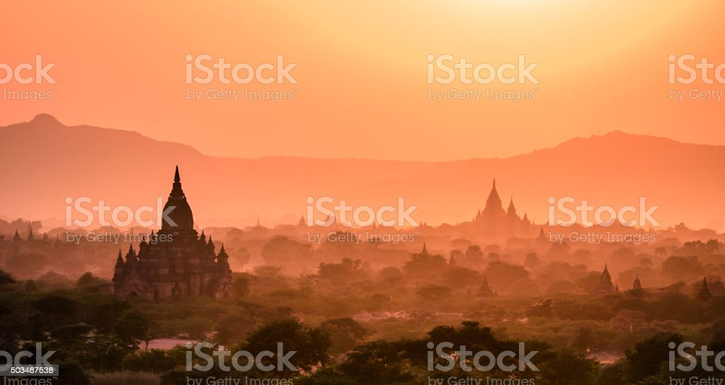 Sunset from one of the temples of Bagan, Myanmar stock photo