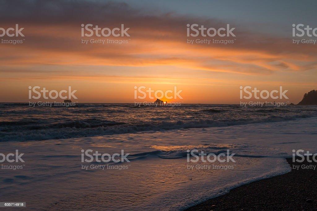 Sunset from Rialto Beach in Olympic National Park, Washington. stock photo