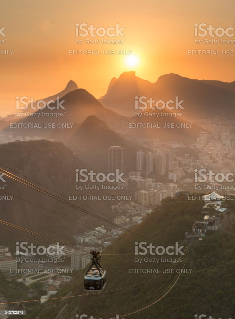 Sunset from Sugar Loaf - Rio de Janeiro stock photo