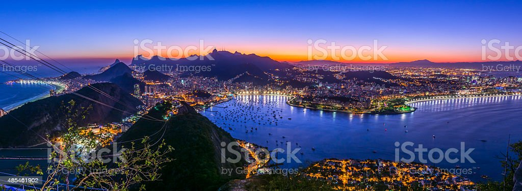 Sunset from Sugarloaf Mountain Panorama stock photo