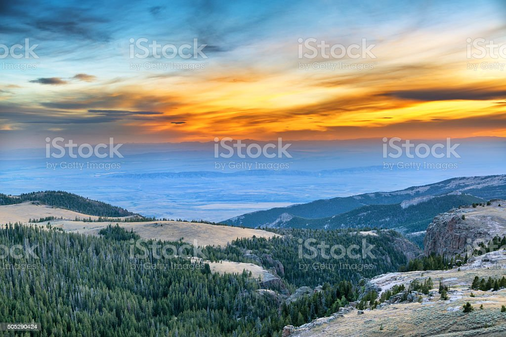 Sunset from the Bighorn Mountains stock photo