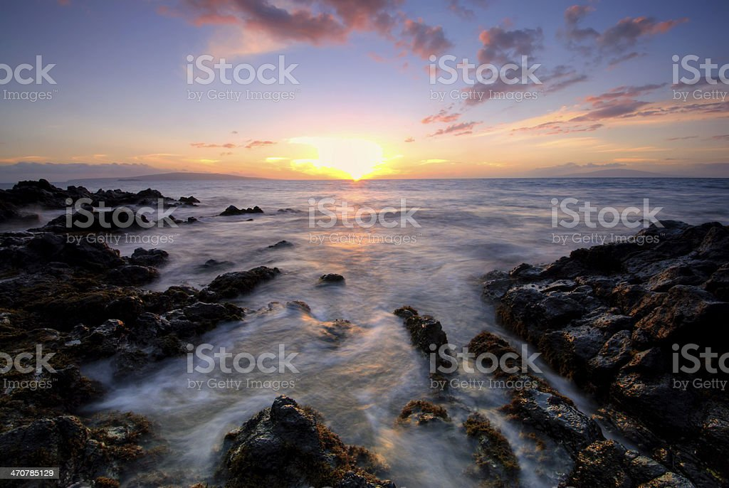 Sunset from the island of Maui, Hawaii stock photo