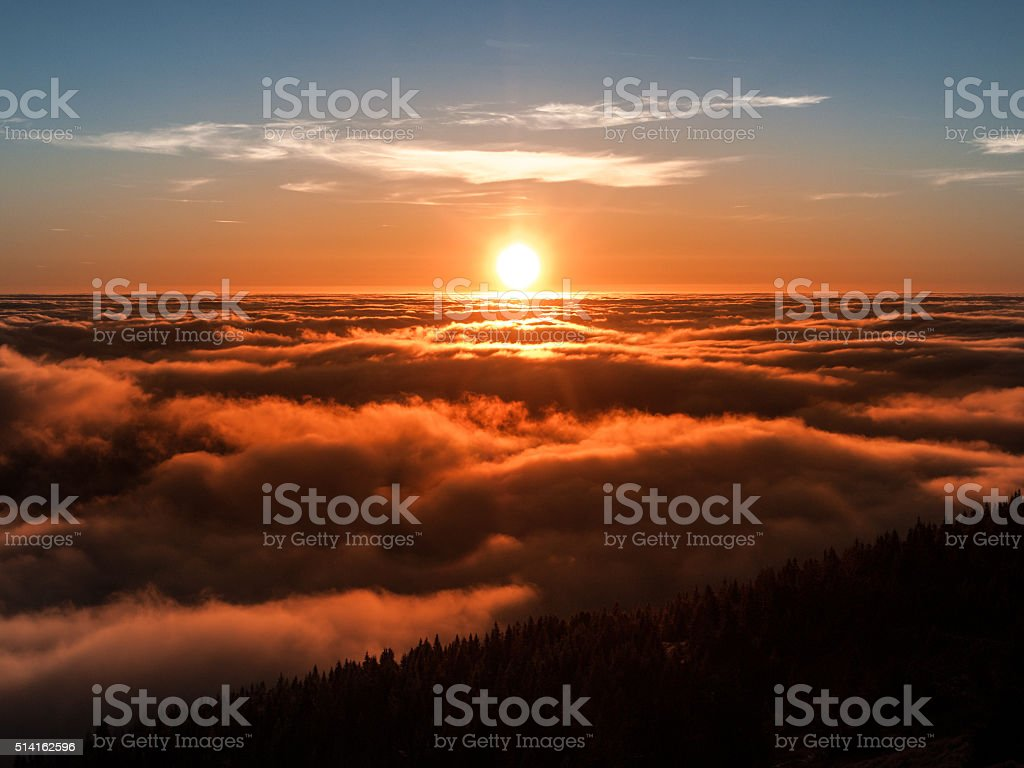 Sunset from the mountain stock photo