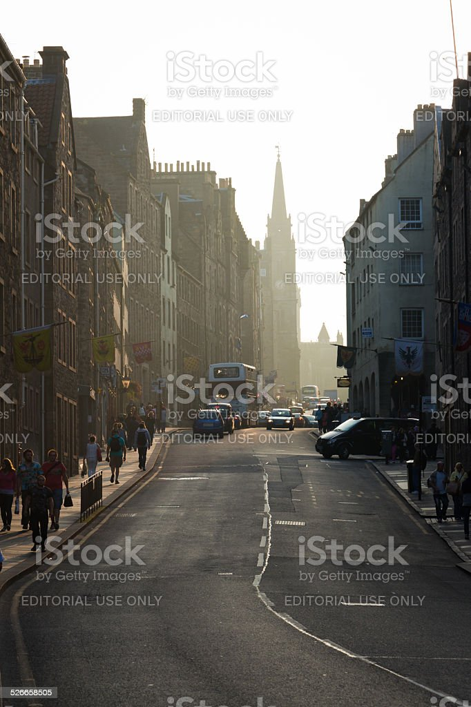 Sunset from the  Royal Mile's Canongate section in Edinburg, Scotland stock photo
