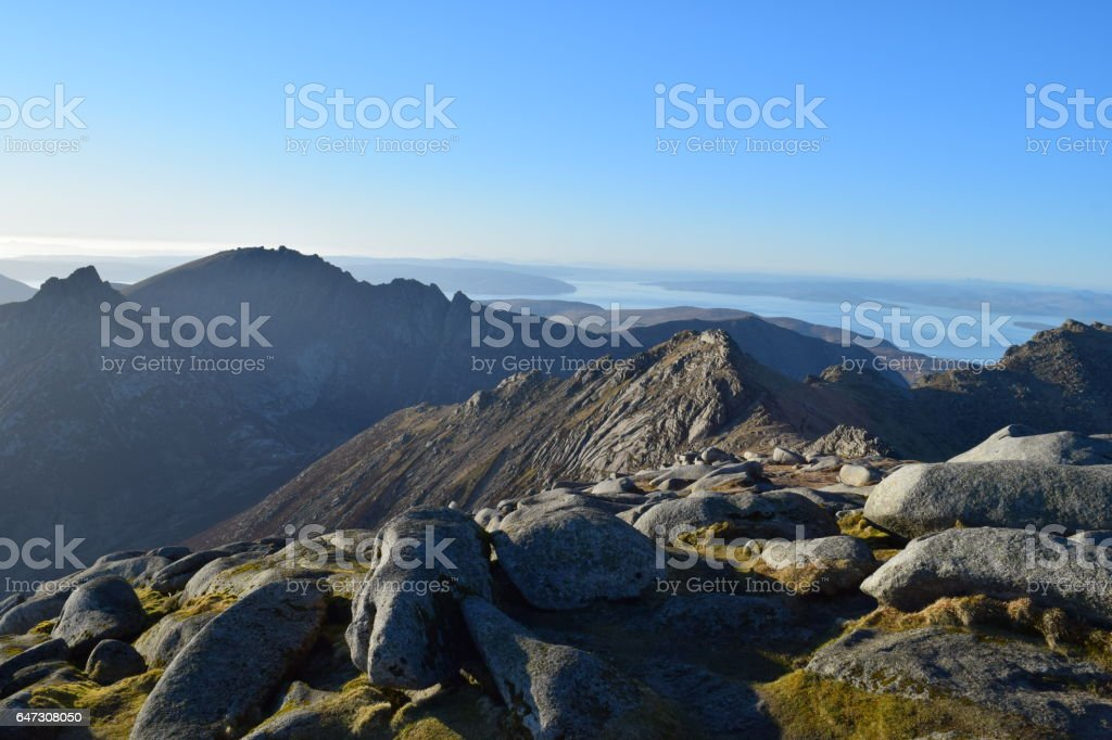 Sunset from the summit of Goatfell stock photo
