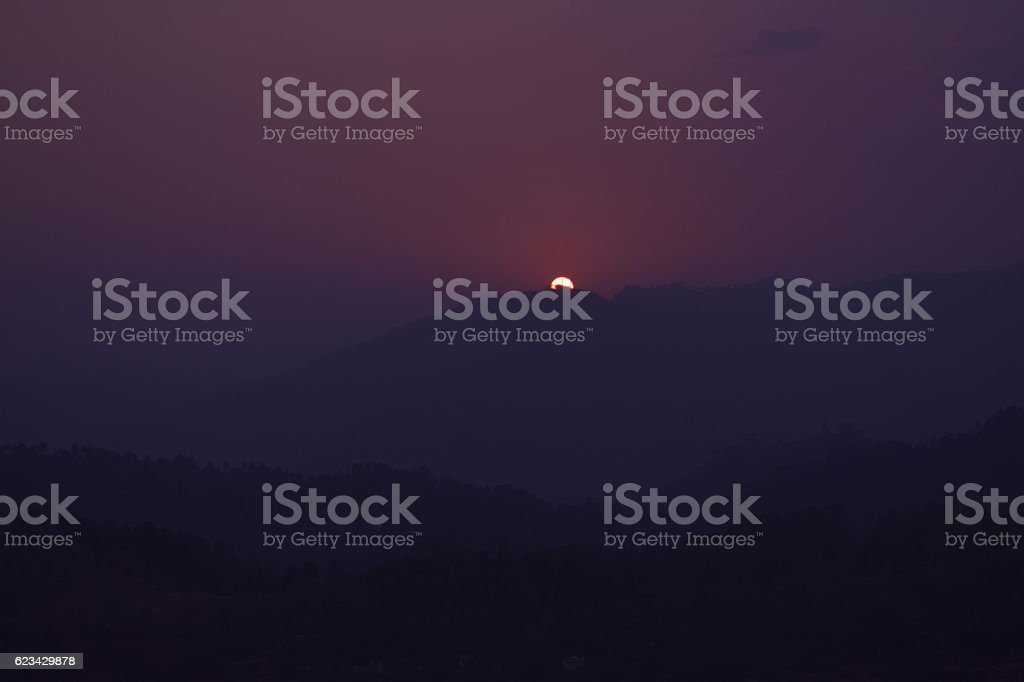 Sunset from the top of the hill stock photo