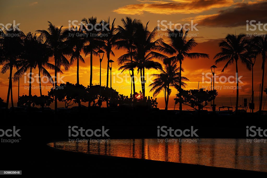 sunset from Waikiki Beach, Honolulu, Oahu, Hawaii stock photo