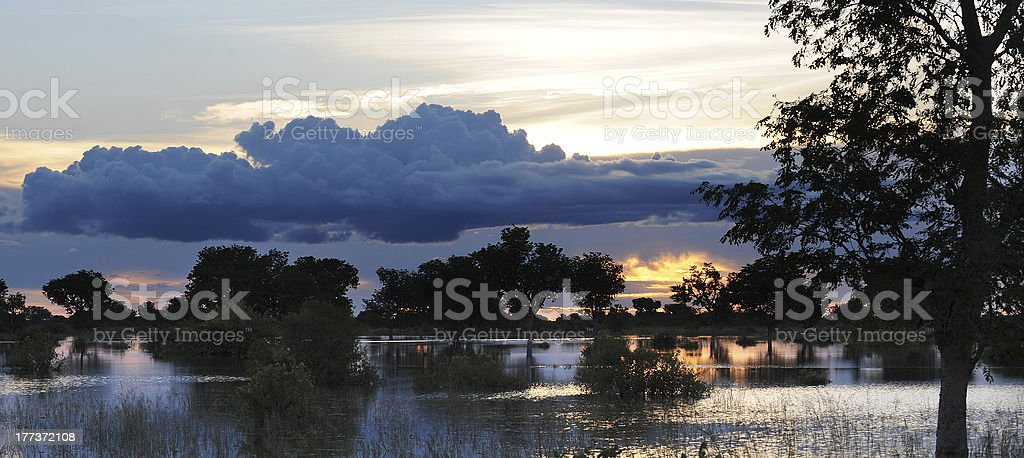 sunset ghana stock photo